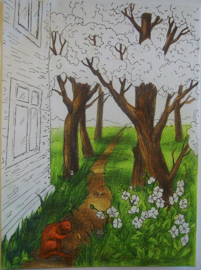 Как нарисовать пейзаж цветными карандашами, шаг 8