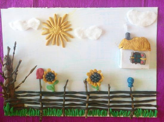 Ліплення з пластиліну в дитячому садку - парканчик, фото 12