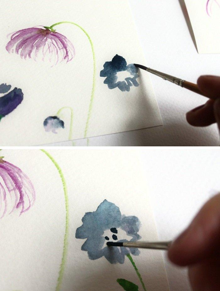 Рисуем фантазийные цветы акварелью, шаг 5