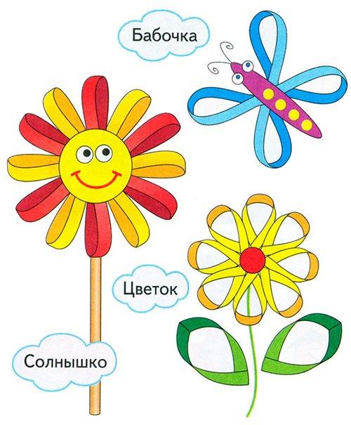 Детские поделки из цветной бумаги с шаблонами. Схема 1