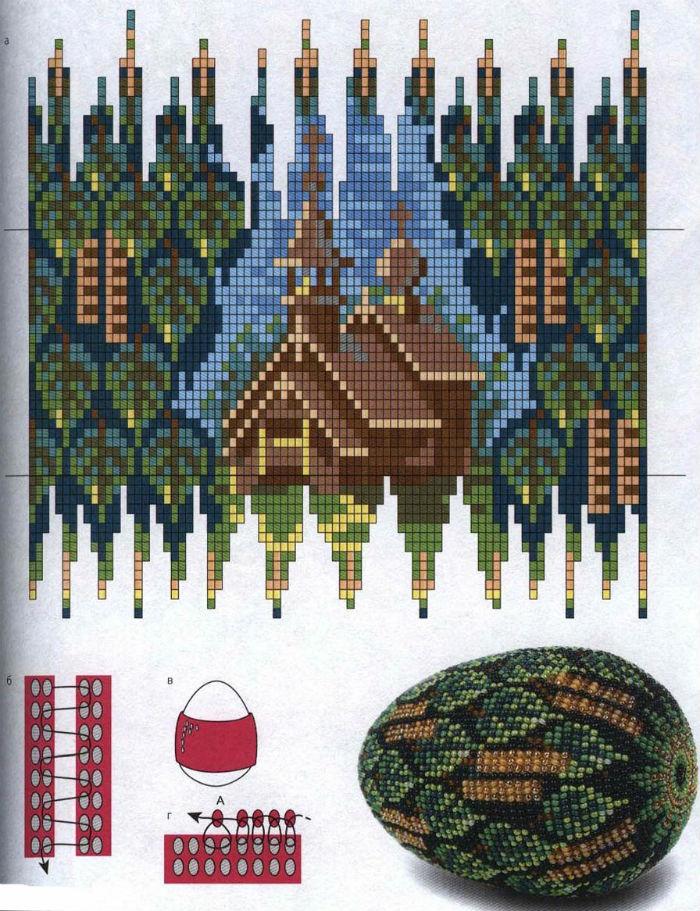 Плотное плетение. Схемы писанок из бисера