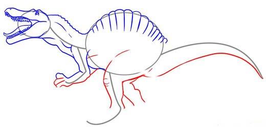 Как нарисовать динозавра Спинозавра, шаг 5