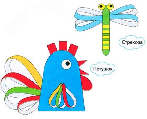 Детские поделки из цветной бумаги с шаблонами. Схема 3