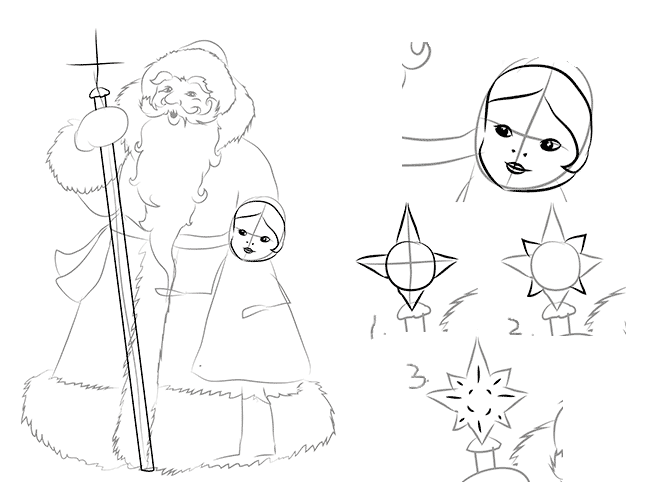 Як намалювати Снігуроньку схема 1