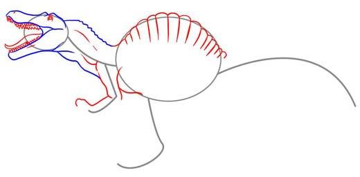 Как нарисовать динозавра Спинозавра, шаг 4