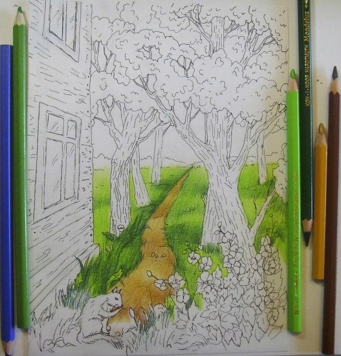 Пейзаж гелевой ручкой поэтапно