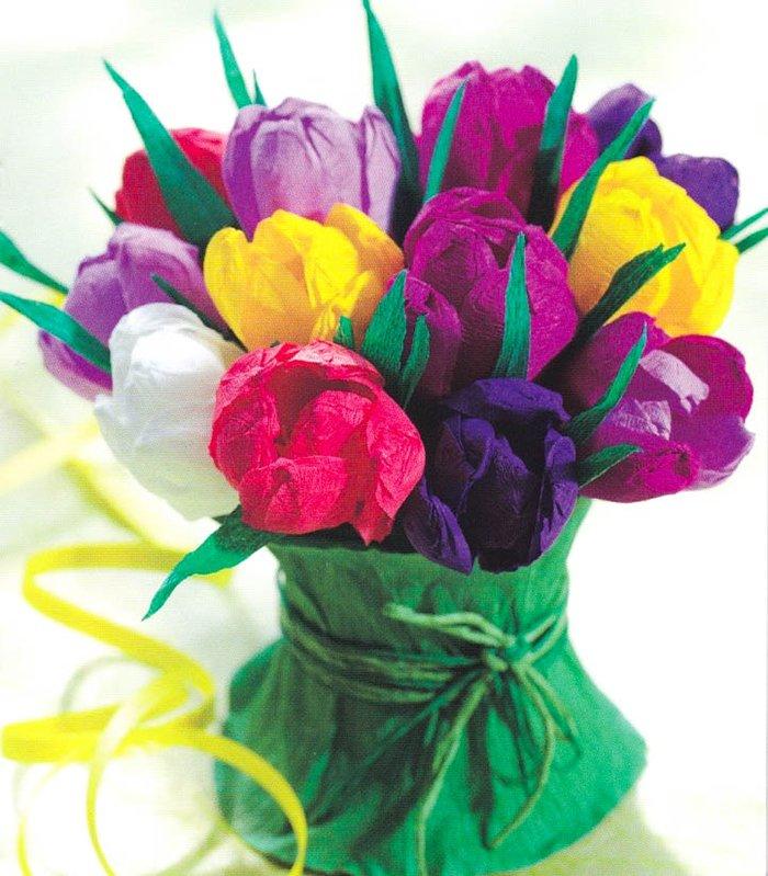 Як зробити тюльпани з гофрованого паперу – інструкція, фото 1