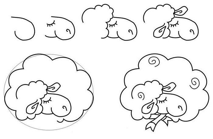 Как красиво нарисовать барашка схема 2