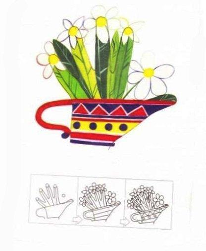 Малювання долонями для дітей. Схема - вазон