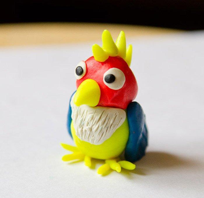 Лепка птиц из пластилина - попугай, фото 5