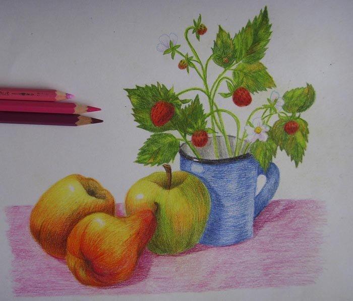 Как нарисовать фрукты на столе карандашом поэтапно