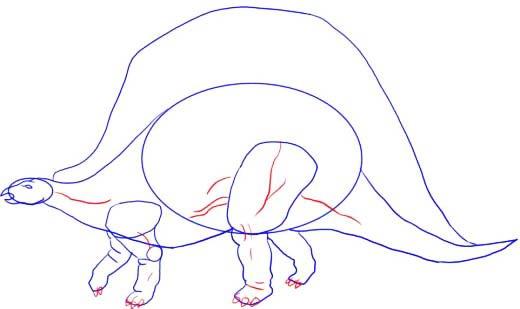 Как нарисовать динозавра Стегозавра, шаг 5