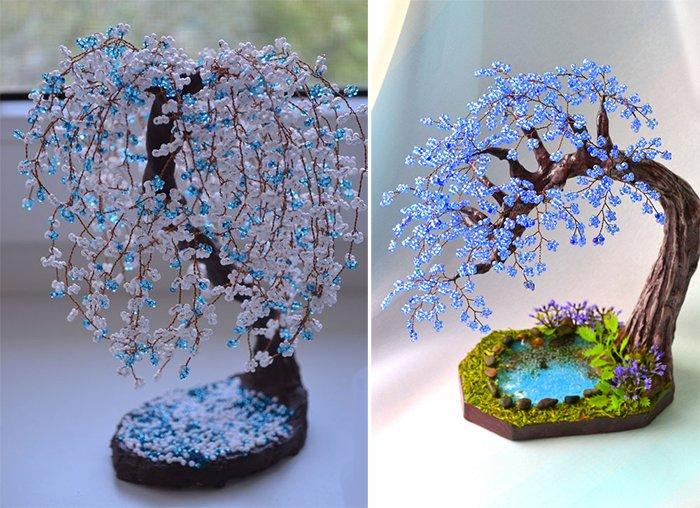 Поделки из бисера и проволоки деревья и цветы, букеты ромашки васильки