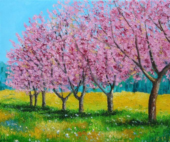 Рисуем весенний пейзаж мастихином, шаг 9