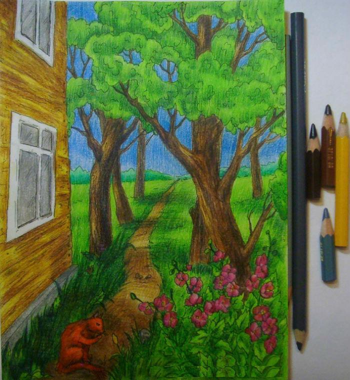Как нарисовать пейзаж цветными карандашами, шаг 12