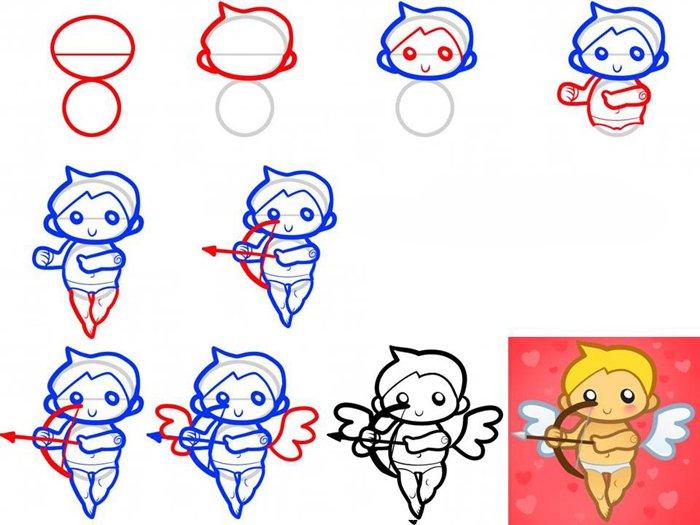 Рисуем смешного Купидона, схема 2