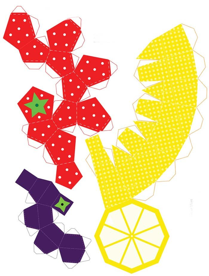 Объемные поделки из бумаги. Шаблоны фруктов для объемной аппликации, фото 6