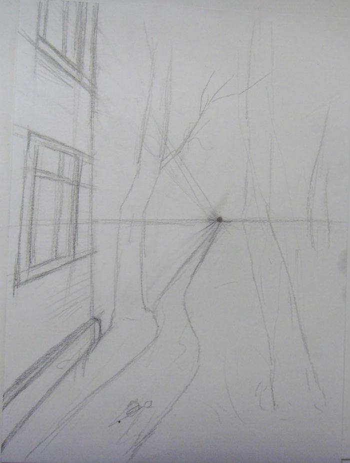 Как нарисовать пейзаж цветными карандашами, шаг 2