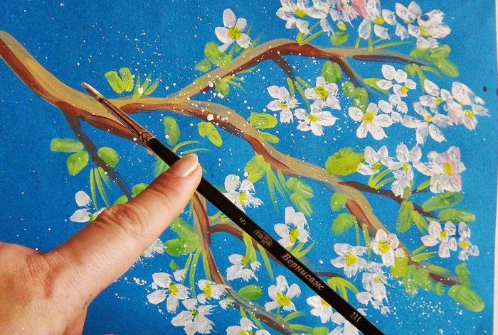 Як намалювати яблуню, або гілку яблуні крок 10