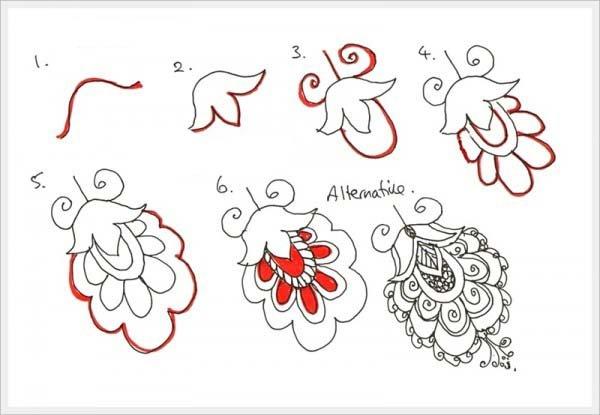 Орнамент цветы шаг 2