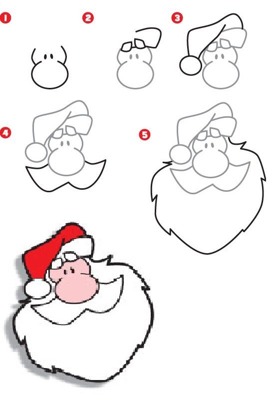 Как нарисовать открытку с дедом морозом 831
