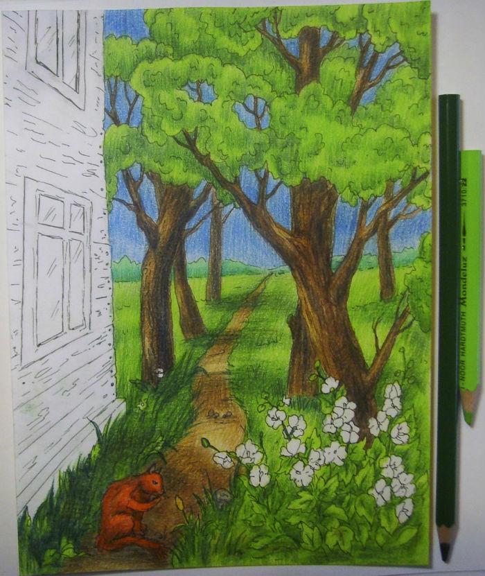Как нарисовать пейзаж цветными карандашами, шаг 10