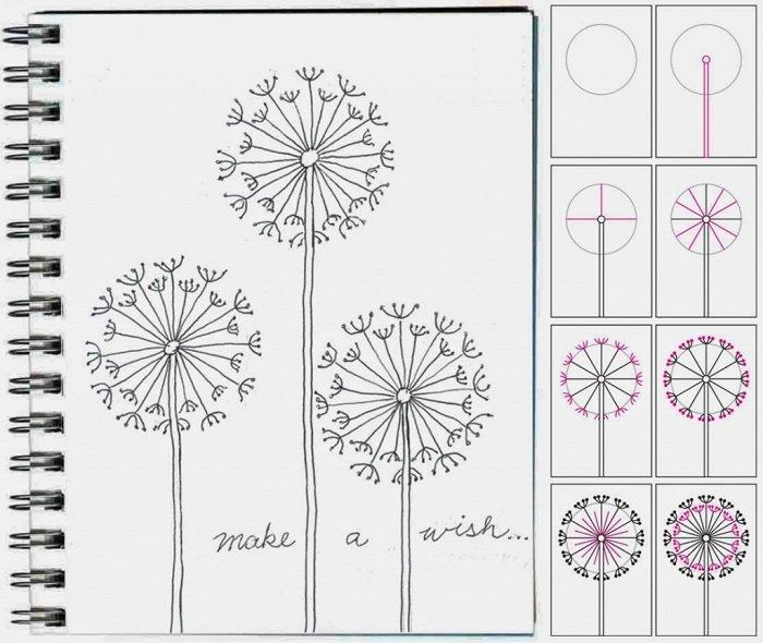 Как нарисовать цветок - Одуванчик, фото