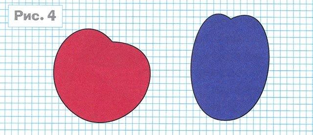 Шаблон вишни и сливы для аппликации из цветного картона