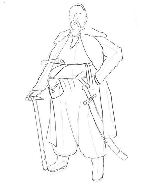 Як малювати козака крок за кроком - етап 4