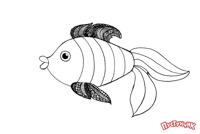 Зентангл тварини - рибка, фото 6