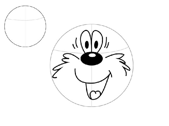 Малюємо ведмедика з мультфільму «Трям! Здрастуйте!» крок 1