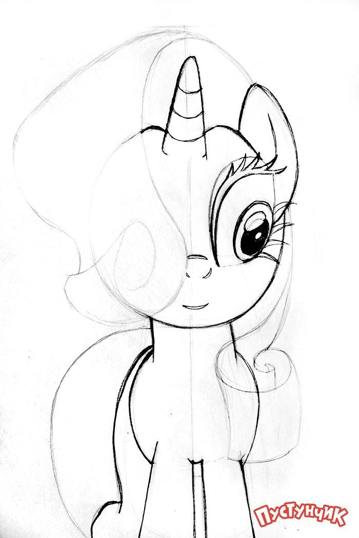 Как нарисовать пони Рарити, фото 4