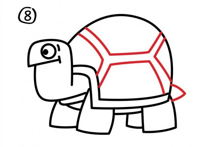 Как нарисовать черепаху карандашом поэтапно, фото 29