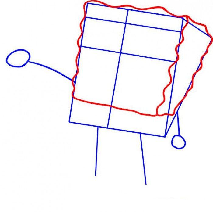 Как нарисовать Губку Боба поэтапно, шаг 2