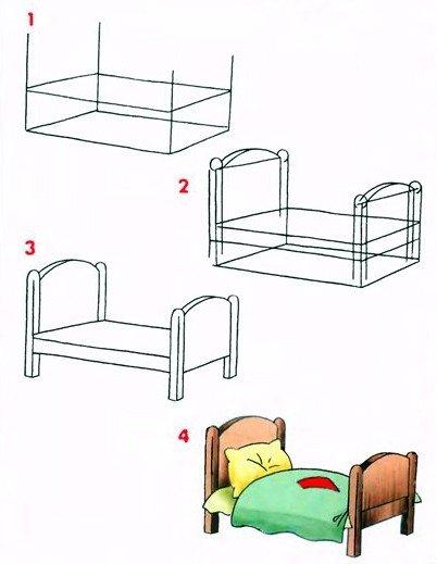 Як намалювати ліжко
