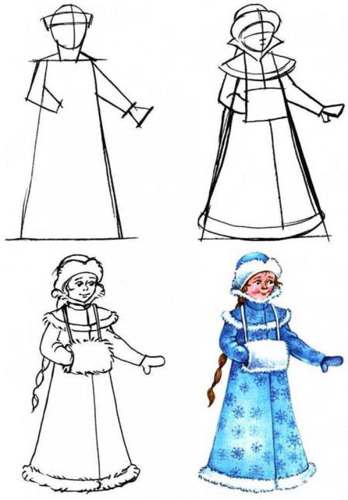 Як намалювати Снігуроньку крок за кроком, фото 4