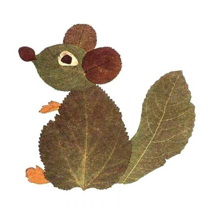 аплікація з осіннього листя, фото 1
