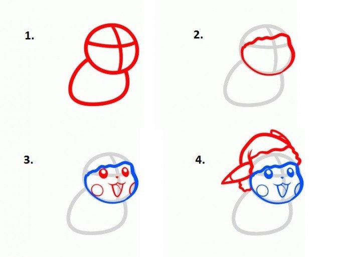Как нарисовать покемона Пикачу шаг 1,2,3,4