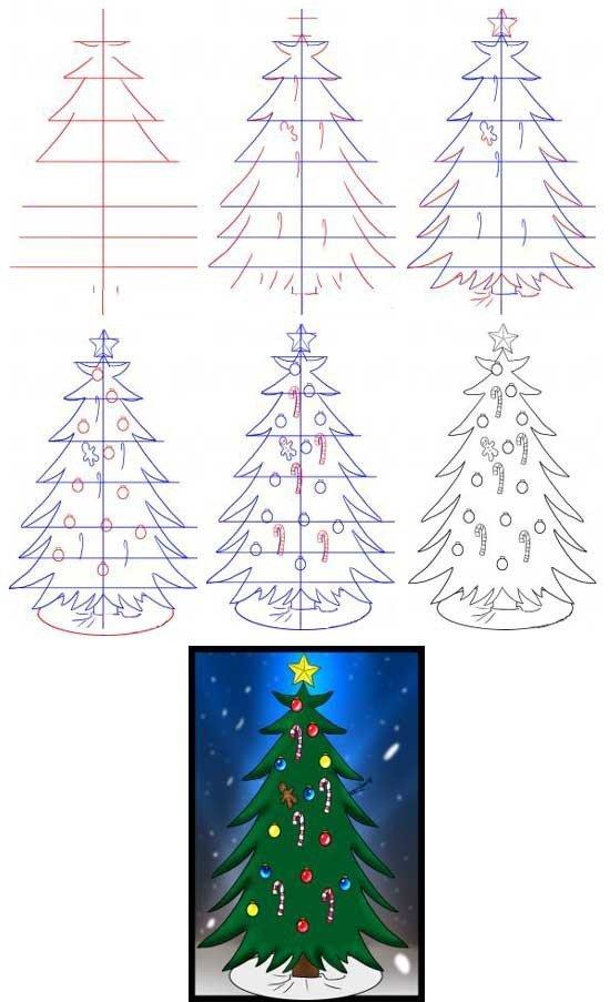 Как нарисовать елку, фото 17