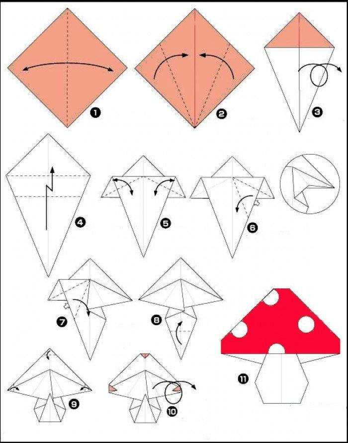 Оригами гриб (схема)