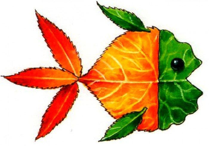 аплікація з осіннього листя, фото 5