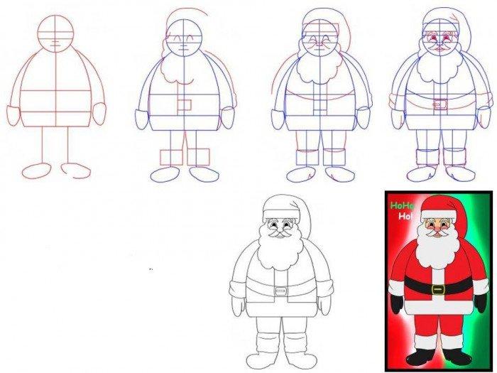 Как нарисовать Санта Клауса поэтапно, фото 11