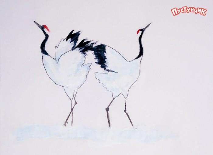Как рисовать журавлей