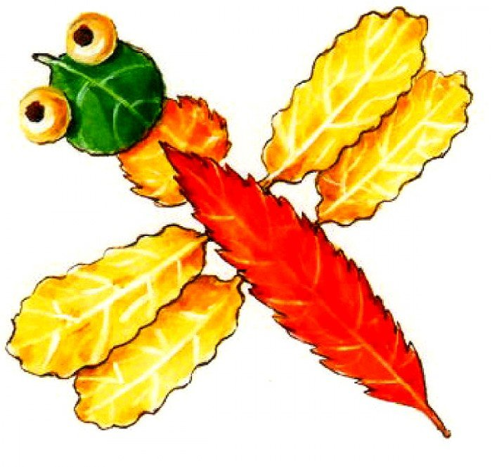 аппликация из осенних листьев, фото 2