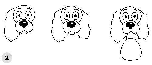 Как нарисовать собаку, схема 3, шаг 2