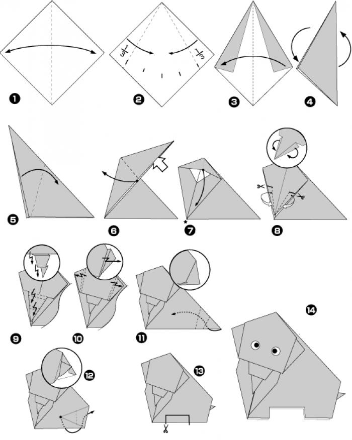 Оригами слоник (схема)