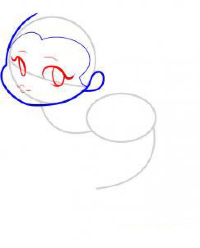 Как нарисовать маленькую русалочку, схема 2, шаг 3