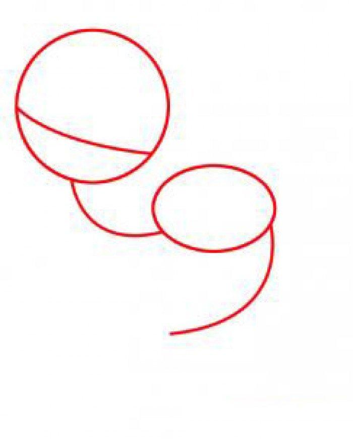 Як намалювати маленьку русалочку, схема 2, крок 1