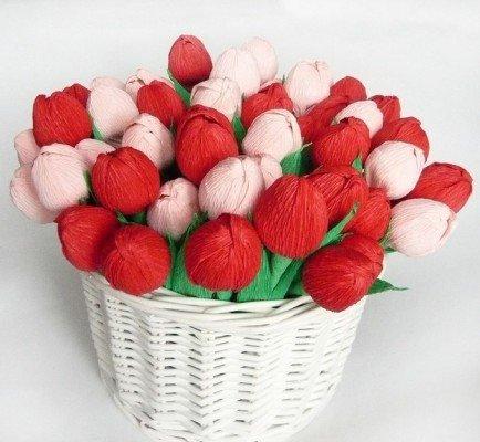 2ef8a005362e96c24899fc85732b84a5 Тюльпаны из конфет и гофрированной бумаги. Тюльпаны из конфет: мастер-класс