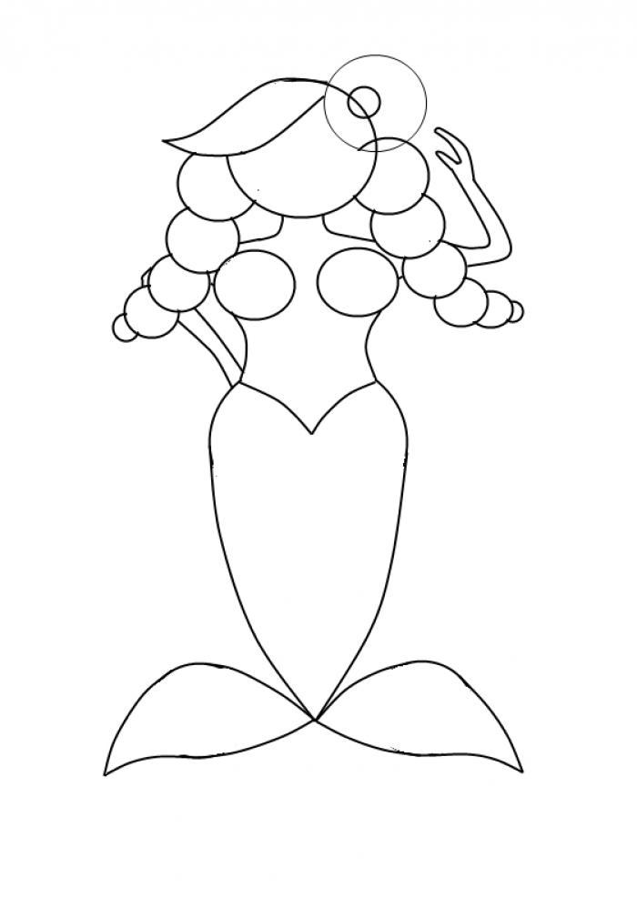 Як намалювати смішну русалочку, схема 3, крок 11
